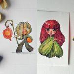 """เมื่อศิลปินจับ """"พืชผักผลไม้"""" มาออกแบบให้เป็นมนุษย์ ผ่านภาพวาดสีน้ำสุดน่ารัก!!"""