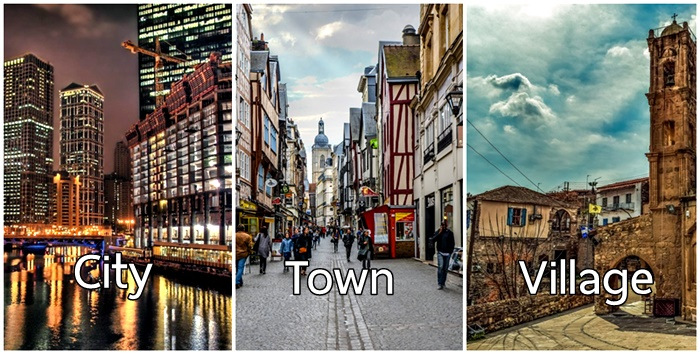 city town or village